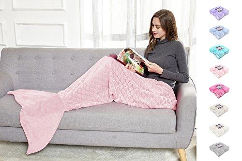 DecoKing 31537 Mermaid Flosse Decke 190 cm Microfaser Meerjungfrau Sirene Fischschwanz Mikrofaser Kuscheldecke Fleece Schlafsack kuschelig warm rosa pink powderpink Siren