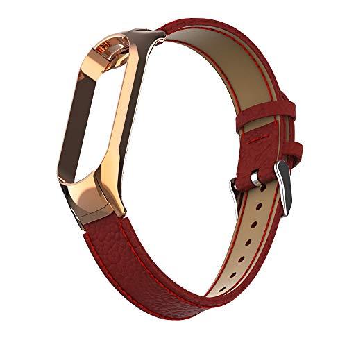 MOSHOU Correas de Repuesto de Cuero Compatible con Xiaomi Mi Band 5, Reemplazo Pulserade Banda y Corchete de Metal, Ajustable Leather Brazaletes Wristband para Mujeres y Hombres (A - Rojo)