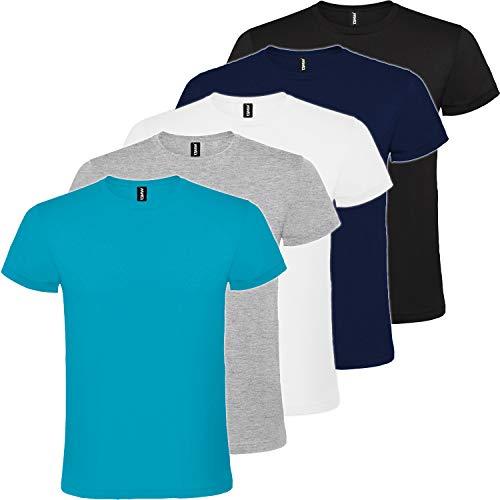 Pack 5   Camiseta Básica Hombre   Algodón   Manga Corta (Combinación 1, M)