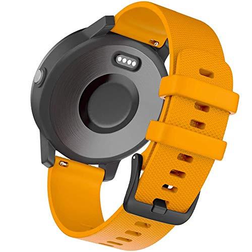 Bandas de silicona de liberación rápida de 20 mm, compatibles con Forerunner 245 645 Music Vivoactive 3 Vivomove HR Galaxy Active 2 Polar Ignite para accesorios Garmin (20 mm, naranja)