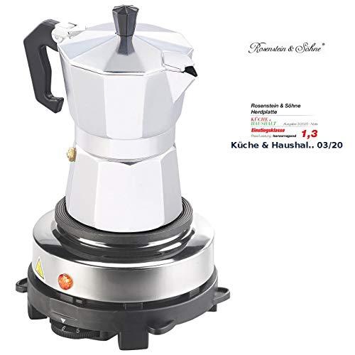 Rosenstein & Söhne Elektrokochplatte: Elektrische Mini-Einzel-Kochplatte mit Espresso-Kocher, 500 W, Ø 10 cm (Kochplatte für Espressokocher)
