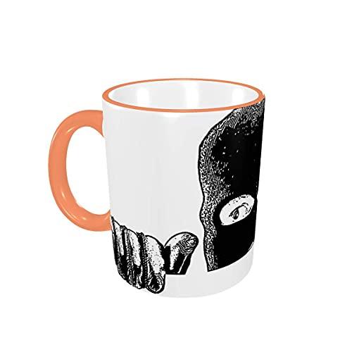 Taza de café Divertido ladrón Tazas de café increíbles Tazas de cerámica con Asas para Bebidas Calientes - Cappuccino, Latte, Tea, Cocoa, Tea Cup, Coffee Gifts 12 oz Pink