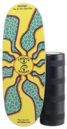 """INDO BOARD Pro Balance Board with Roller - Sunburst Design - for Surfers, Snowboarders, SUP, Fitness - 42"""" X 15"""" Deck and 8.5"""" Diameter Pro Roller - Perfect for Tall Riders"""