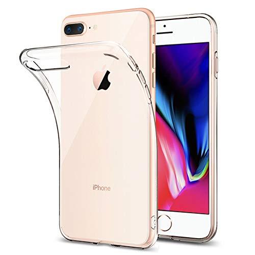 Amonke Funda iPhone 7 Plus, Funda iPhone 8 Plus - Silicona Transparente TPU Carcasa, Flexible Suave Cristal Clear Ultra Slim Antigolpes Antiaraazos Bumper Case Cover para Movil Apple iPhone 7 8 Plus
