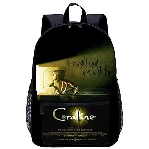 3D-gedruckte gemusterte Schultasche Kinderschulrucksack Coraline & die Geheimtür Geeignet für Erwachsene, Kinder, Jugendliche, Jungen, Mädchen Größe: 45x30x15 cm/17 Zoll Büchertaschen für Jugendlic