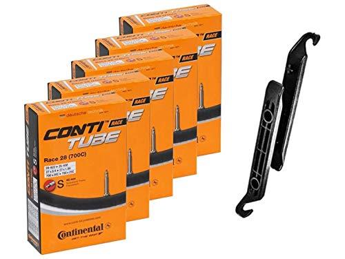 Continental Race 28 pulgadas 700 x 20 – 25 C tubo interior para bicicleta – 42 mm de largo válvula Presta (paquete de 5 con 2 palancas de llantas negras)