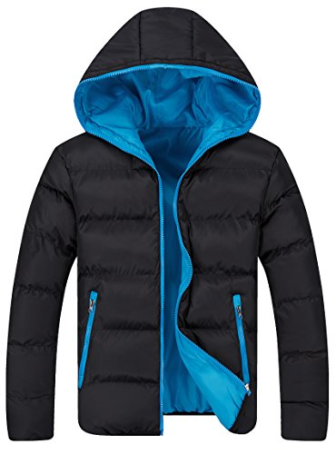 Men's Winter Casual Lightweight Quilted Hooded Jacket (S, Blk&Blu)