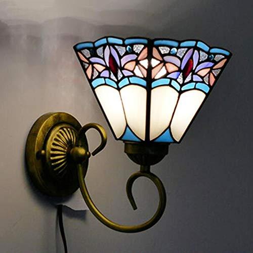 Wandlamp, eenvoudige barokke stijl wandlampen, Tiffany stijl schans, rustieke Retro gebrandschilderd glas spiegel koplampen muur lantaarn