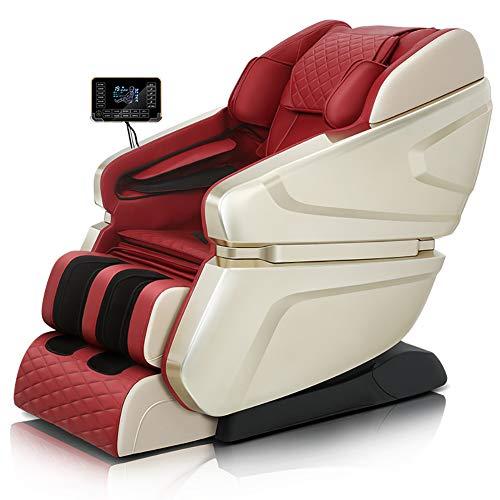 Zero Gravity Massagesessel, Intelligent Doppel SL automatische Massage mit Stretch Heizung vibrierender Funktion und Bluetooth-Lautsprechern,Rot