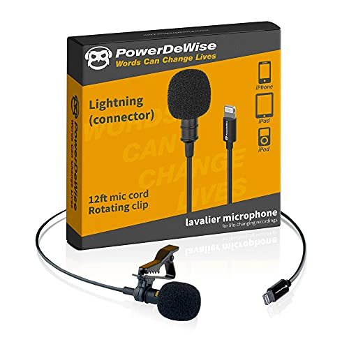 Professional Grade External Lavalier Microphone for iPhone iPad iPod - Lapel...