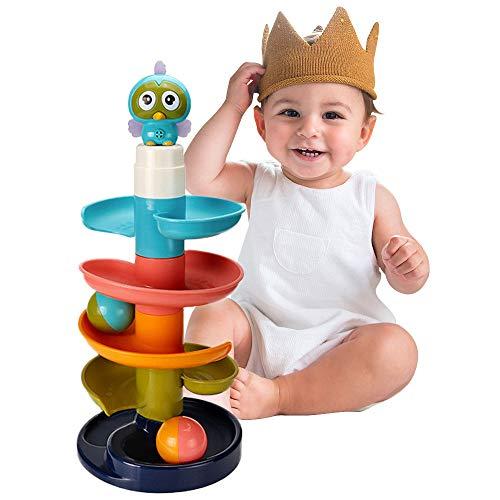 Juguete De Actividad Pista De Bolas,Ball Drop Juego Bloques de Construcción,Juguete de Torre Bolas,Juegos Giratorio Ejecutar,Juguetes Educativos para Niños Bebés Centro de Actividades (Azul)