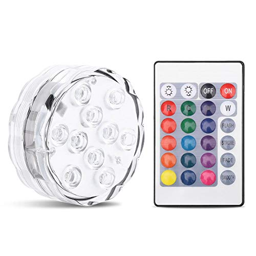 Tauch 10 LED Lichter, RGB Multicolor wasserdichte batteriebetriebene Lichter mit IR-Fernbedienung für Weihnachten Halloween Brunnen Pool Hot Tub Vase Hochzeit Party Aquarium Teich Dekoration