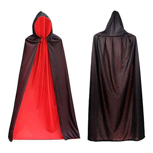 SWEDREAM Halloween Vampiro Dracula Mantello Cape Costume di Halloween Fancy Dress Costume Nero Rosso Reversibile Mantello con Cappuccio per Bambino o Adulto (140cm Lungo)