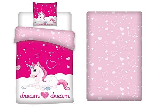 LesAccessoires Juego de cama de unicornio, funda nórdica de 140 x 200 cm + funda de almohada + sábana bajera de 90 x 190 cm