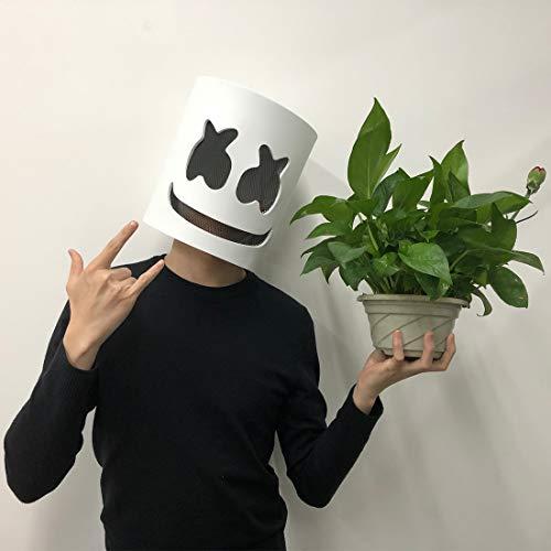 Jestool DJ Maske, Latex DJ Maske Halloween Party Nachtclub Weiße Maske Erwachsene Cosplay Kostüm Helm für Party Kostüm Spielen