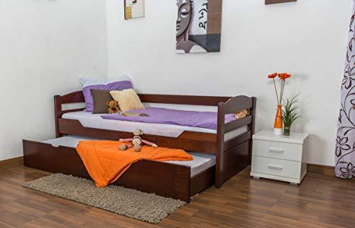 Kinderbett/JugendbettEasy Premium Line K1/h/s inkl. 2. Liegeplatz und 2 Abdeckblenden, 90 x 200 cm Buche Vollholz massiv Dunkelbraun