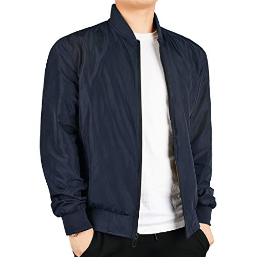 WEEN CHARM Men's Lightweight Bomber Jacket Flight Windbreaker Softshell Baseball Jacket Varsity Coat