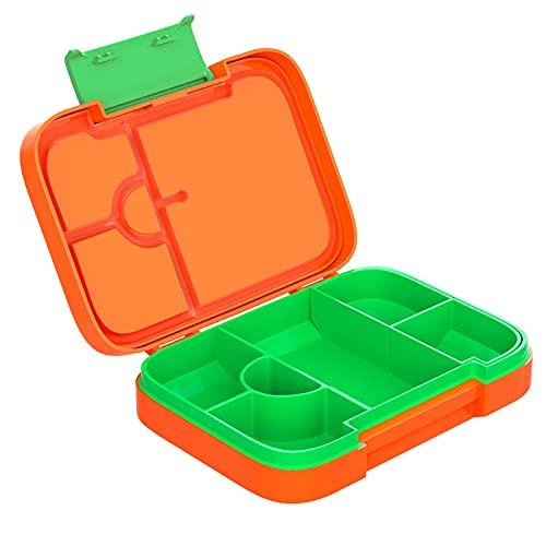 Lunchbox Kinder,Brotdose Kinder mit Fächern (Fächer Einstellbar) Auslaufsicher Bento Box für Salat und Snacks Jausenbox mit 4+2 Fächern Lunch Box Snackbox Mikrowellengeeignet