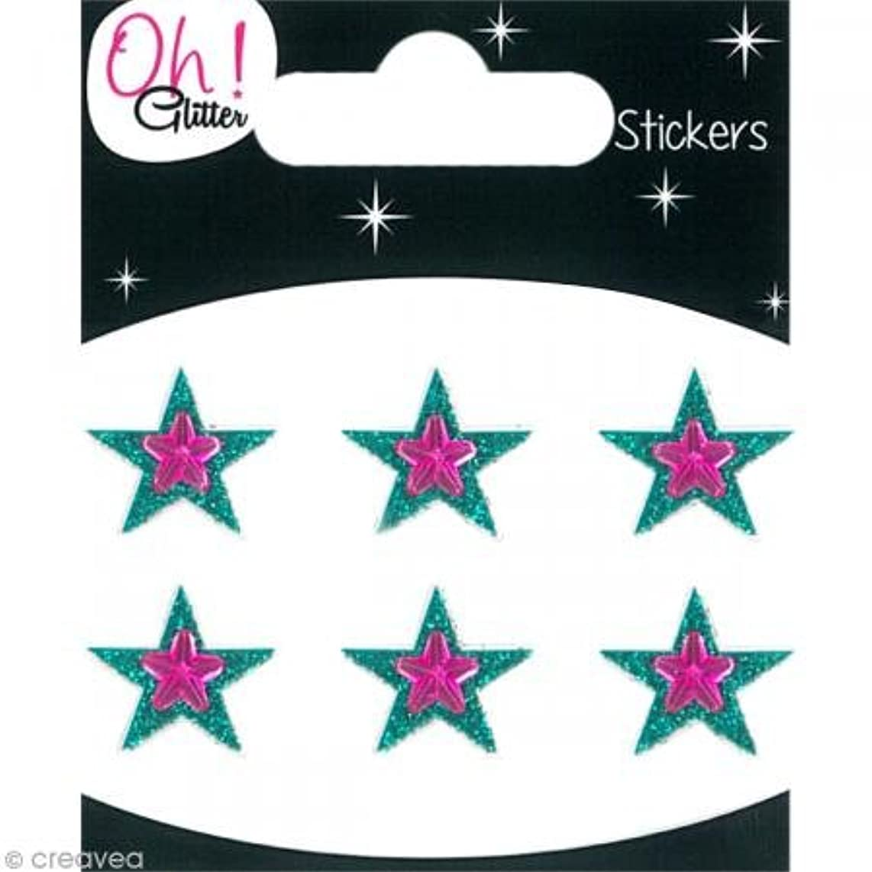 Oh ! Glitter Stars Glitter Stickers, Paper, Turquoise, 6.5?x 8?x 0.2?cm