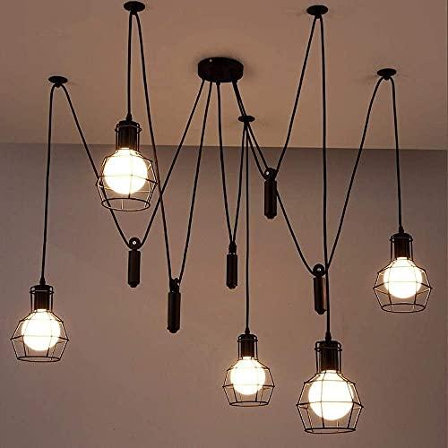 FWQ Vintage Loft Colgante luz Creativo Edison Chandelier Vintage Industrial Techo lámpara Accesorio Antiguo Bricolaje Ropa Tienda café Restaurante araña Colgante lámpara Accesorios e27 Edison