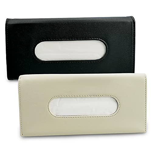 EMIHO 2 Pcs Car Tissue Holder Sun Visor Napkin Holder, Pu Leather Tissues Box Car Visor Tissue Paper Storage Cases Backseat for Universal Cars (Black and Beige)