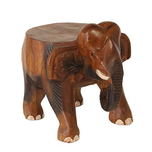 Oriental Galerie Rundhocker Holzhocker Elefanthocker Blumehocker Elefant Hocker ca. 25 cm hoch 21 x 22 cm Durchmesser Holz Limboholz Braun Klein