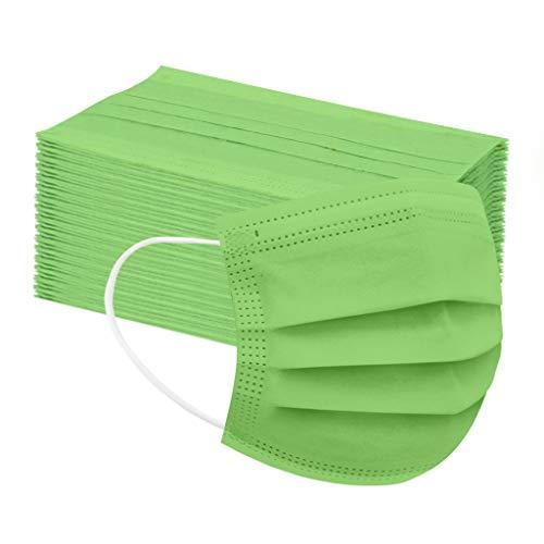 50 Stück Kinder Mund und Nasenschutz Atmungsaktiv Einmal-Mundschutz Mundbedeckung Staubs-chutz Bedeckung Multifunktionstuch Verstellbarer Half Face (50pc, Grün)