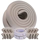 Winthome Baby Proofing Adge Corner Guards, Eight Corner Protectors and 4 Four Meters Edges, Two 3M Tapes, Non-Toxic, Soft with Thick Foam (Grey)