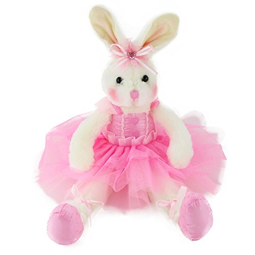 WEWILL Ballerina Bunny Stuffed Animal Adorable Soft Plush Toys Rabbit Doll Girls Gift on Birthday Christmas Festivals, 15-Inch (Pink)