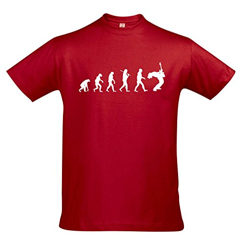T-Shirt - EVOLUTION - Gitarre Musik Guitar FUN KULT SHIRT S-XXL , Red - weiß , XL