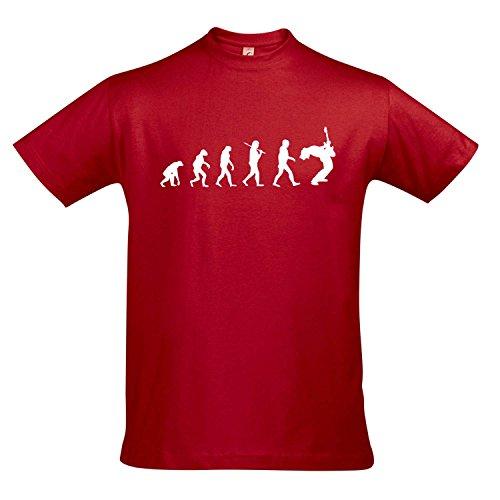 T-Shirt - Evolution - Gitarre Musik Guitar Fun Kult Shirt S-XXL, Red - weiß, XL
