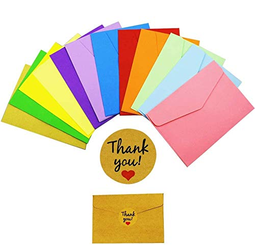 INTVN Mini Sobres 120 piezas Multicolor Sobres con 120 piezas Pegatinas Kraft para Tarjeta de Regalo Materiales de Fiesta de Boda Cumpleaños