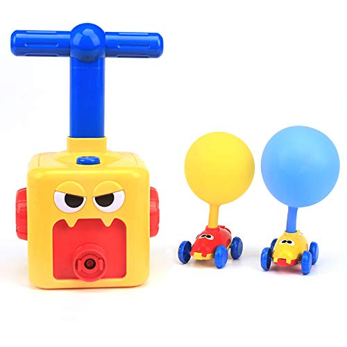 LiKee Balloon Powered Cars Balloon Racers Aerodynamic Cars Stem Toys Party Supplies Preschool Educational Science Toys with Manual Balloon Pump for Kids Boys Girls 3+ and Classroom (Yellow Monster)