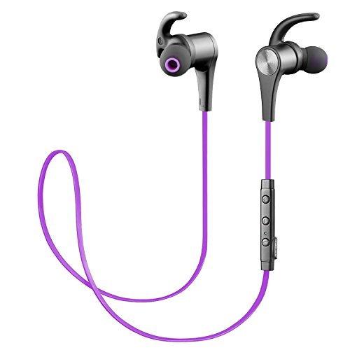 Cuffie Bluetooth Sportive Magnetiche SoundPEATS Auricolari Wireless ( Bluetooth 4.1, aptX, A2DP, 6 ore di Riproduzione, Microfono Incorporato, CVC 6.0 ) per iPhone, Galaxy, Tablet, MP3, ecc. -Viola