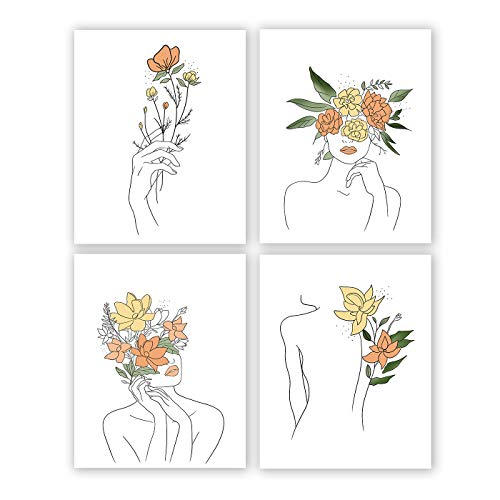 Minimalist Women Flower Wall Art Print-- Dressing Room or Girls Bedroom Decor--Fashion Women Rose Minimal Line Canvas Print ( Set of 4 )--Unframed--8X10 inch