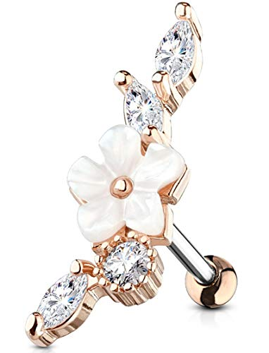 Forbidden Body Jewelry 16g Surgical Steel Faux Pearl Flower CZ Cartilage Stud Earring (Rose Gold Tone)