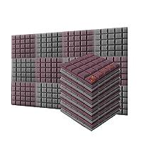 新しい12ピース 500 x 500 x 50 mm 半球グリッド 吸音材 防音 吸音材質ポリウレタン SD1040 (ブルゴーニュとグレー)