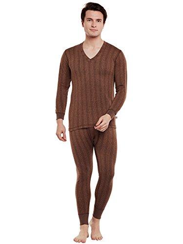 VIMAL JONNEY Winter King Brown Thermal Top & Pyjama Set for Mens