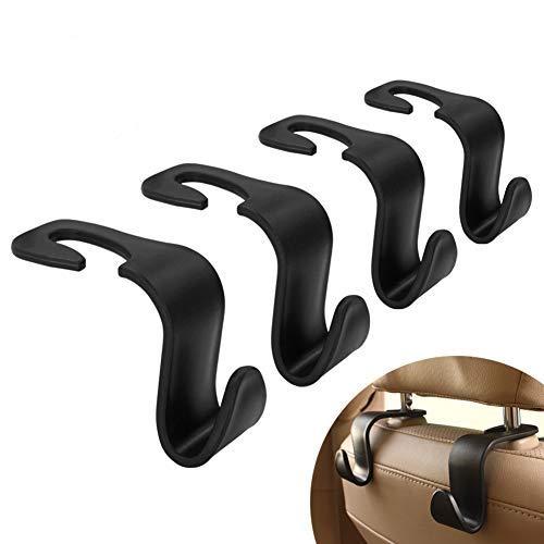MYSBIKER Kopfstützenhalterung Auto Haken, 4 Stück,Auto Lagerung Haken,Rücksitz Kopfstütze Haken - Mantel Geldbörse Handtasche Halter