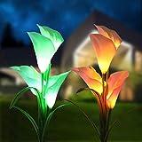 2個のソーラーフラワーライト 埋込型花ライト 7色変換太陽カラフラワー IP65防水 室内 室外 装飾 イルミネーション ギフト 花園、庭、芝生など適用LED景観ライト (白い&黄)