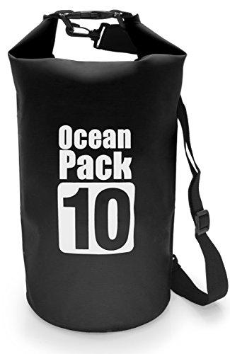 MyGadget Sac Etanche 10L pour Sport Nautique - Dry Bag Certifié Waterproof Imperméable PVC - Voile Canoë Kayak Rafting Plongée - Noir