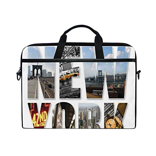 FOURFOOL 15-15.6 inch Laptop Bag,New York City Collage Featuring with Different Areas of The Big Apple Manhattan,New Canvas Print Pattern Briefcase Laptop Shoulder Messenger Handbag Case Sleeve