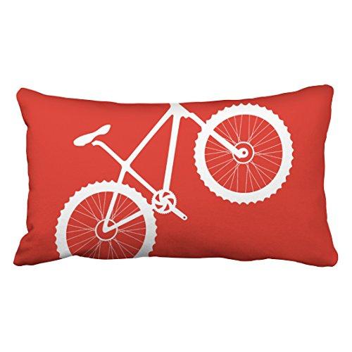 Musesh fiets mountainbike in rood wit Kussens Case Gooi Kussen Cover Voor Sofa Home Decoratieve Kussensloop Gift Ideas Huishoudelijke Kussensloop Met rits Kussenslopen 16X16Inch