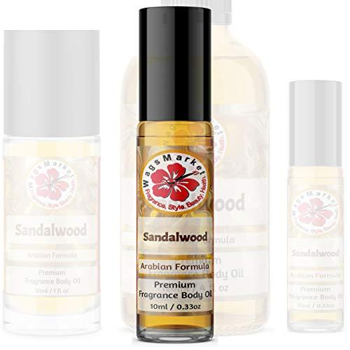 WagsMarket - Sandalwood Perfume Oil, Choose from 0.33oz Roll On to 4oz Glass Bottle (0.33oz Roll On Bottle)