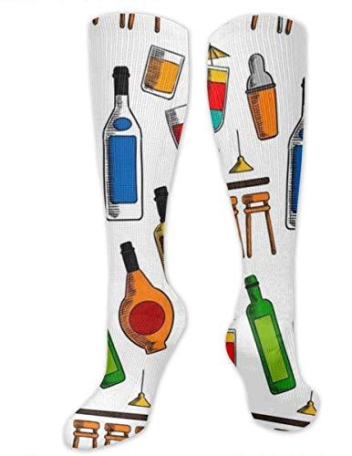 zhouyongz Bar Cocktails und Alkohol Getränke Kompressionssocken für Männer und Frauen – Best graduated Athletic & Medical für Männer & Frauen, Laufen, Flug, Reisen