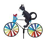 ZZCC Cartoon Windmill/Cat Kite/Dog Kite/Creative Animal Bicycle Wind Spinners Standing Pole Garden Yard Lawn Decoration (Black Cat)