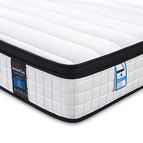 Inofia Memory Foam Sprung Mattress 10.6 Inch,3FT Spring Mattress with Innovative Wave Memory Foam and Soft Knitted Fabric,The Elegant Collection,Risk-free100 Night Trial