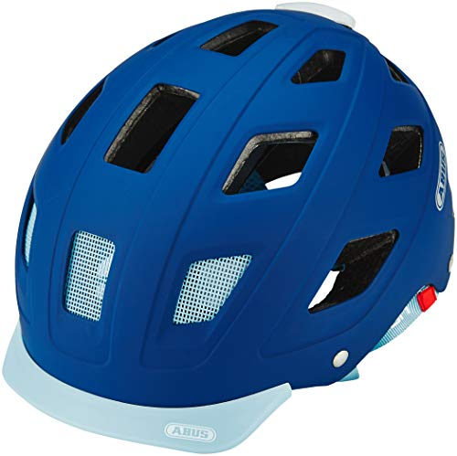 ABUS Fahrradhelm Hyban Core mit LED Licht – City-Radhelm mit verstellbarem Drehrad und abnehmbarem Visier für Damen und Herren - Blau, Größe M
