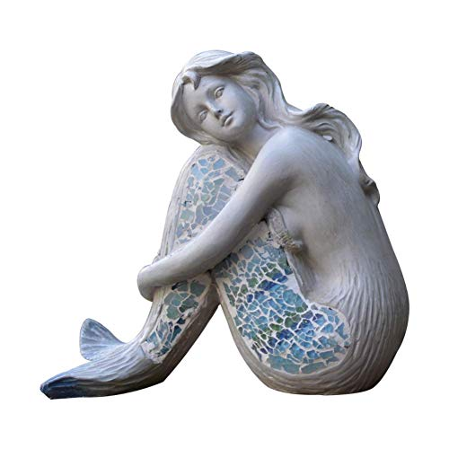 LKJH Statua della Sirena Seduta, Splendida Statuetta della Sirena della dea dell'Oceano Atlantide, Ornamento da Esterno Sirena Scultura all'aperto per Piscina Giardino Arredamento casa Sirena 20x