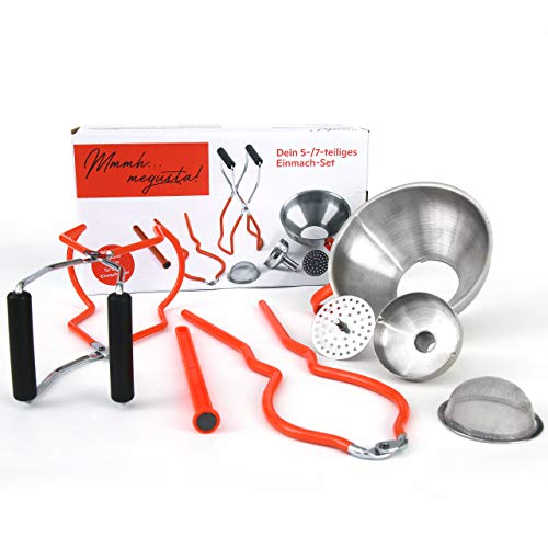 megusta!® Einmach-Set 7-teilig in Geschenk Box: Trichter Edelstahl mit Reduzierstück, feinem + grobem Sieb, Glasheber f. Einmachgläser, Öffner-Zange f. Gläser, Magnet Stift f. Twist Off Deckel